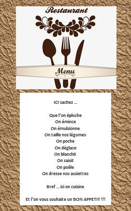 Page de garde des menus